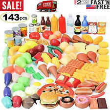 Pretend Play Food Set Toy Food Grocery Kitchen For Kids Plastic Toddle-135 Piece