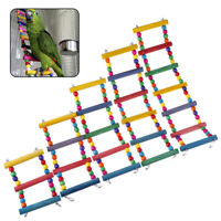 Wooden Ladder Parrot Bird Chew Toy ColorfuL Ladder Climbing Swing Hanging To Tk