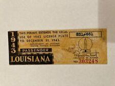 1943 Louisiana License Plate Expiration WINDSHIELD STICKER