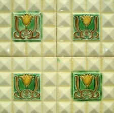 Tulips & Diamonds cream Set of 4 original period antique england majolica tiles