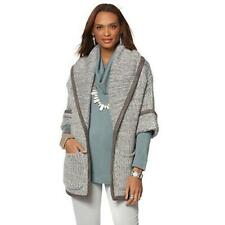 MarlaWynne Women's Drama Salt and Pepper Coat Winter White/Gray 3X Plus Size HSN