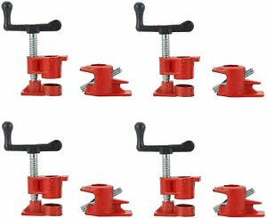 """( 4 Pack ) 3/4"""" Wood Gluing Pipe Clamp Set Heavy Duty PRO Woodworking Cast Iron"""