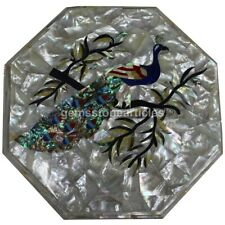"""15"""" Mother of Pearl Coffee Table Top Peacock Paua Shell Iridescent Feather Gifts"""