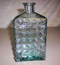 Vintage Light Green Glass Liquor Decanter Barware Diamond Quilt Spain