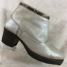 Dung Silver Leather  Platform Booties Women's Size US 7 - 7.5