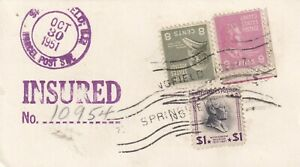 GG1226 USA Prexie Parcel Post insured  Oct 1951, $1 Prexie both sides + more