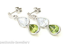 9ct White Gold Peridot Teardrop earrings Gift Boxed Made in UK