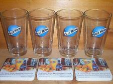 BLUE MOON BELGIAN ALE 4 BEER PINT GLASSES & BAR COASTERS SET NEW