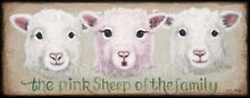 Pink Sheep of The Family Wooden Sign Plaque Farm Countryside Art Picture