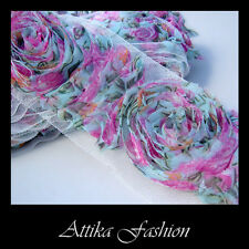 Gorgeous Pink Aqua Blue Floral -- French Roses Chiffon Mesh Lace Trim *Per yard*