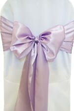 "100 Lavender Satin Chair Cover Sash Bows 6"" x 108"" Banquet Wedding Made in USA"