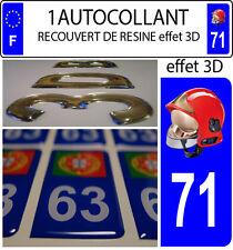 1 sticker plaque immatriculation auto DOMING 3D RESINE CASQUE F1 POMPIER DEPA 71