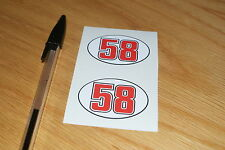 Marco Simoncelli Number 58 Visor Stickers (Pair)