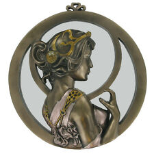 Beautiful Round Art Deco Wall Mirror Lady Bronze Erotic Cold Cast Plaque 01503
