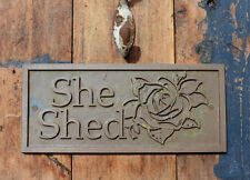 "NEW Wall Plaque, ""She Shed"" with rose detail. New, Cast Bronze Resin. Handmade"
