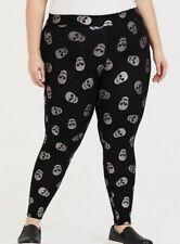Torrid  Premium Legging - Foil Skull Black & Silver   sz 2 plus   NEW!