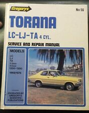 GREGORY'S TORANA LC-LJ-TA 4 CYL SERVICE & REPAIR MANUAL NO 56 IN V.G.C