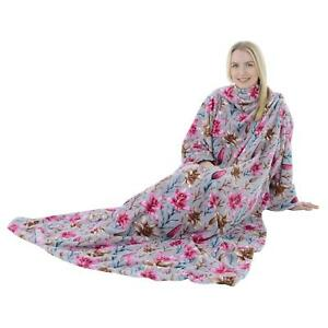 Adults Warm Soft Coral Fleece TV Cuddle Snuggle Blanket With Sleeves -13 Colours
