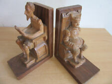 Vintage OURO carved wood book ends Don Quixote, Sancho Panza