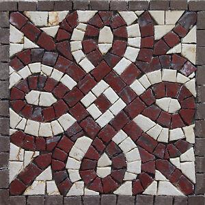 Celtic Mark Tribal Maroon Creme Square Motif Marble Mosaic BD97