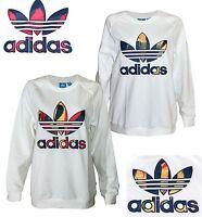 ADIDAS ORIGINALS Ladies Sweatshirt Material Logo Patchwork Style Rib Trim BNWT