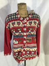 Heirloom Collectibles Women's Red Blue Story House Sweater Cardigan Size M NWT