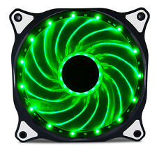 120mm DC 15 LED Cooling Case Fan for PC Computer,Quiet Edition CPU Cooler Green