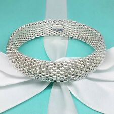 Tiffany & Co. Somerset Mesh Wide Bracelet Bangle Cuff 925 Silver Authentic Box