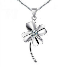 Wholesale 925 Sterling Silver Crystal Clover Pendant Necklace Woman Jewelry