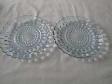 Lot of 2 Vintage Anchor Hocking Blue Bubble Glass Dessert Salad Plates 6 3/4""