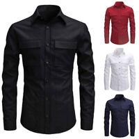Mens Formal  Office Work Slim Fit Long Sleeve Lapels Button Down Pockets Shirt