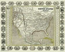 OLD WORLD STYLE MAP ~ USA AND MEXICO 1846 ~ 24x30 POSTER ~