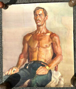 Old Soviet Watercolor Russian Painting Portrait USSR Socialist Realism Naked Man