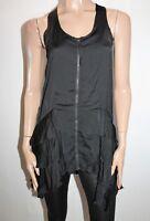 DAZZLING Brand Black Zip Front Frill Layer Hem Dress Size M BNWT #TL28