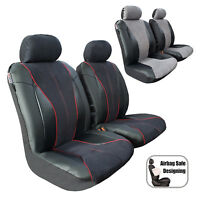 Black Leatherette Suede Racing Seat Covers Front Bucket Car Truck SUV Pickup