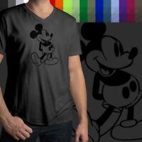 Retro Classic Vintage Mickey Mouse Walt Disney Mens/Unisex Tee V-Neck T-Shirt
