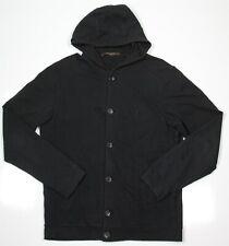 LOUIS VUITTON Black Button-Up Cotton-Cashmere Logo Hoodie Sweater~ Small