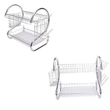 2 Tiers Kitchen Dish Cup Drying Rack Holder Metal Dish Mug Multifunctional Rack