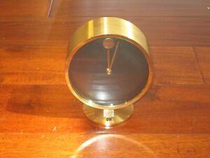 Howard Miller Brass Museum Desk Clock Movado Design MCM MADE IN W. Germany WORKS