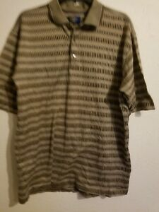 """Callaway Golf By Nordstrom Polo T Shirt Short Sheeve Large 29.5"""" length Brown"""