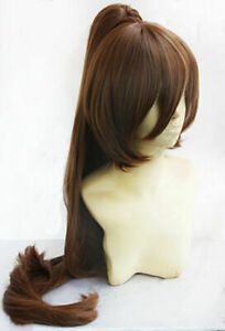 Women Wig New Long Brown Clip Ponytail Cosplay Wig+Wig Cap