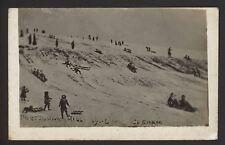 Hampshire. Portsmouth. Portsdown Hill. Tobogganing in the Snow! 1906 RP Postcard