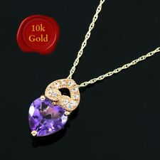 LOVELY 2.50 CARAT AMETHYST & WHITE SAPPHIRE 10KT SOLID ROSE GOLD HEART NECKLACE