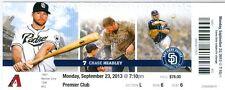 2013 Padres vs Diamondbacks Ticket: Eric Stults win/Nick Hundley hit a home run