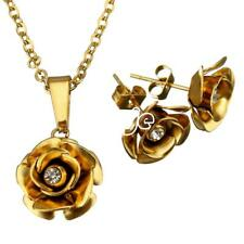 Women Gold Crystal Rhinestone Stainless Steel Jewelry Set Rose Necklace Earring