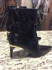 Gucci Black Patent Leather Pointy Ankle Boots with Rose Gold Heel - 38 = 8B US