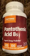 New Jarrow Pantothenic Acid B5 500 Milligrams 100 Veggie Caps 8/21 Expiration