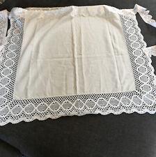 """More details for antique vintage victorian edwardian cotton apron lace edge apron 29"""" width"""