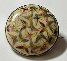 Delicately Painted Antique Signed Japanese Satsuma Porcelain Pin w Butterfly