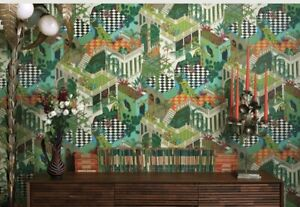 Cole & Son Miami Wallpaper Green And Coral 1 Roll + Extra